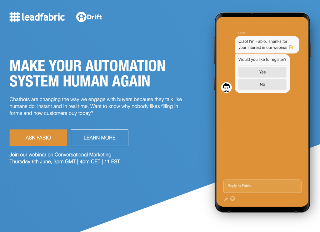 Landing Page with Drift Chatbot