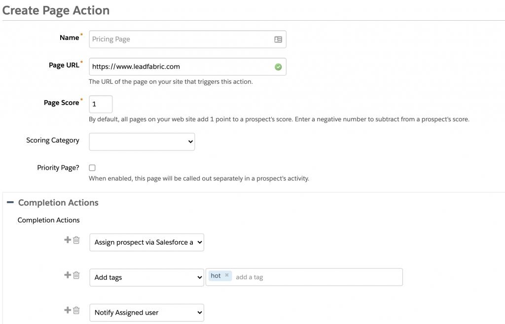 Pardot Completion Actions screenshot